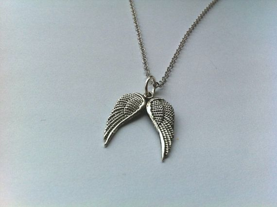 Silver Angel Wings Charm Necklace by ameliadoneup on Etsy, $25.00