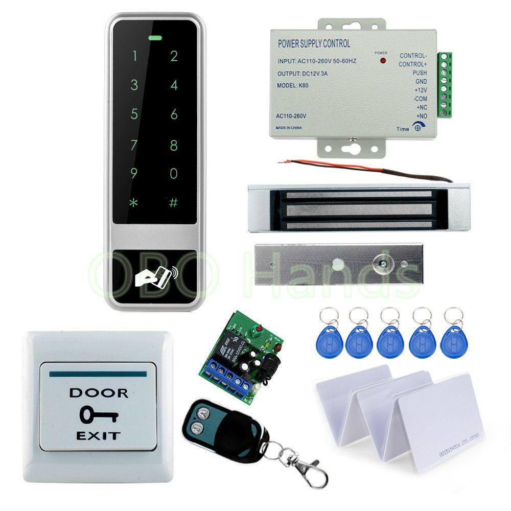 Rfid Full Access Kit Set Metal Touch Keypad Controller 180kg Em Lock 12v Power Supply Door Switch Wireless Access Control Access Control System Remote Control