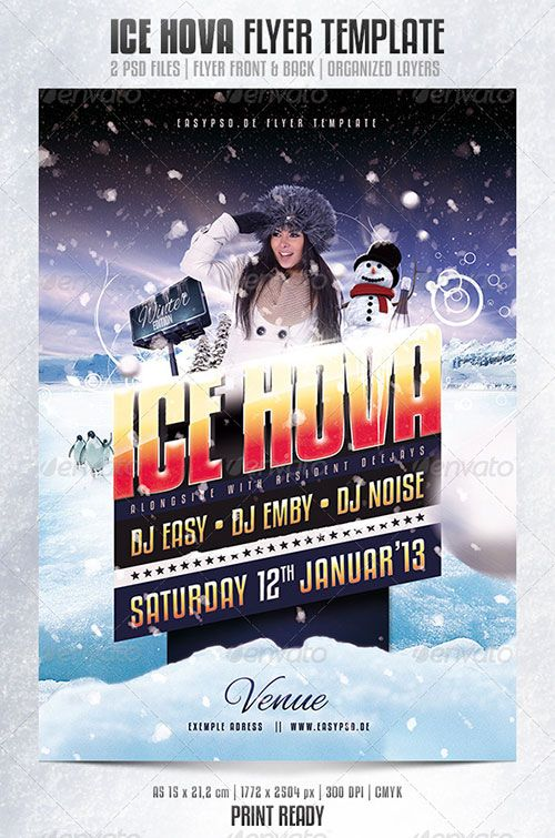 Winter Ice Snow Party Entry Flyer Poster Template Free Club Party