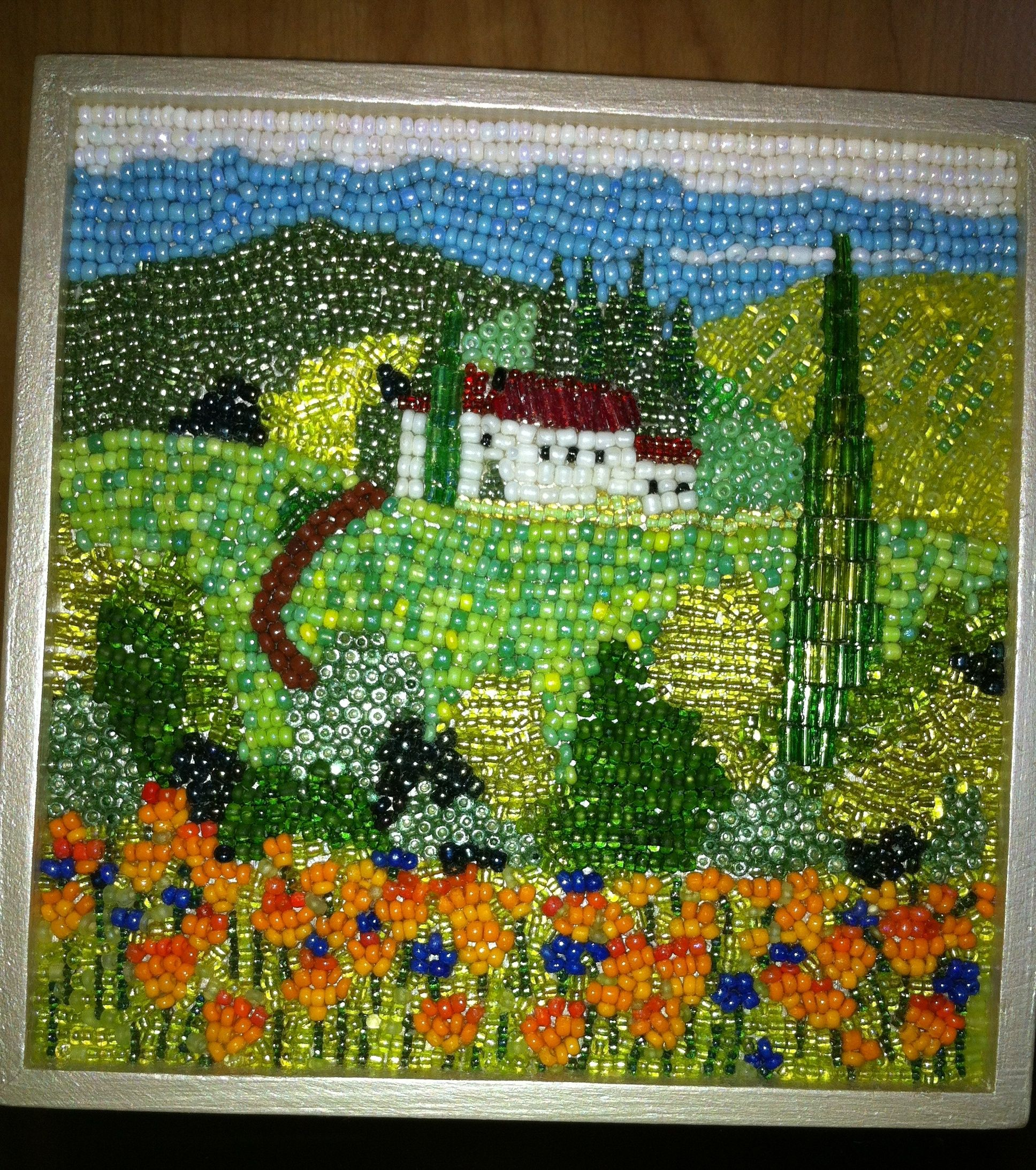 Another Project I Made Beaded Mosaic Box With A Tuscan Landscape