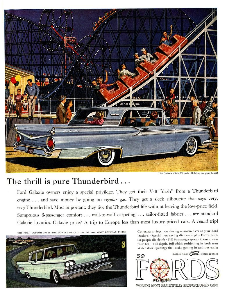 Ford Car Poster 1959 Ford Galaxie Classic Cars Vintage