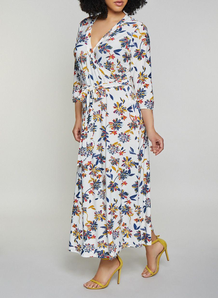 fb2f1b1d746 Plus Size Floral Faux Wrap Midi Dress - Multi - Size 1X in 2019 ...