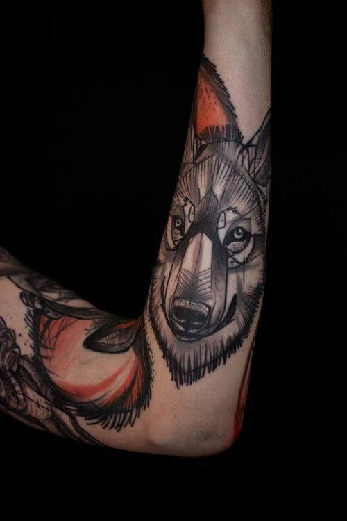 Wolf tattoo on the arm. #tattoo #tatoos #ink