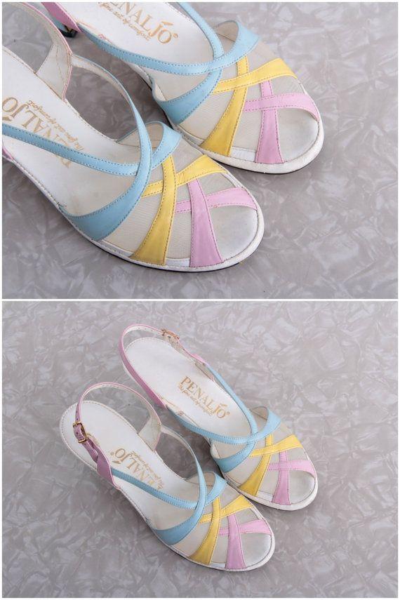 Pastel Pumps.  Vintage Footwear . Sling Back Open Toe  \\ VeraVague //