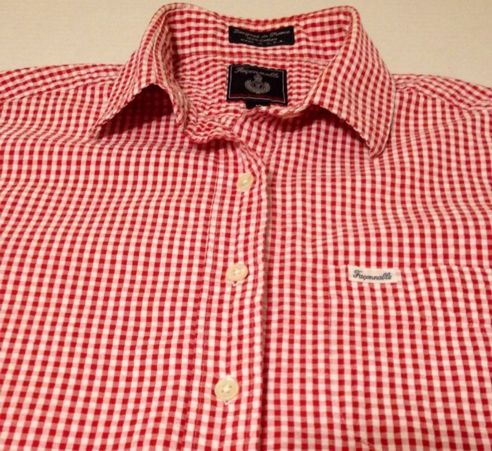 f153823ef612c3 Faconnable Gingham Plaid Red Womens Long Sleeve Dress Shirt Size Medium  Dress Shirt Sizes, Long