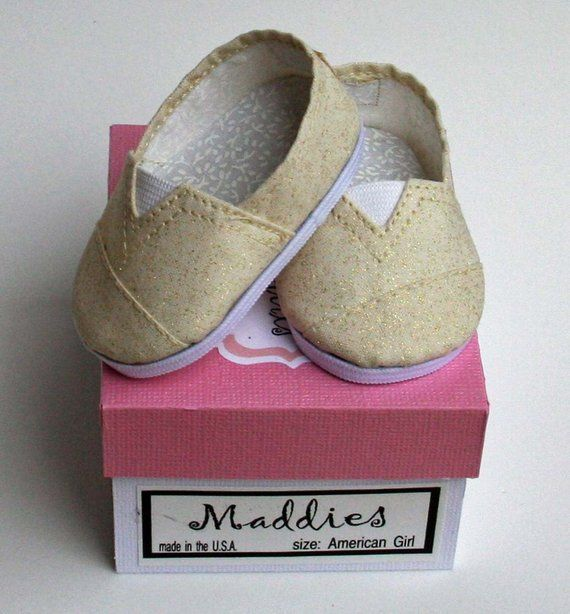 4f868069a0a9 MADDIES - Toms Style Shoes fit 18 inch Dolls - Gold Sparkle in 2019 ...