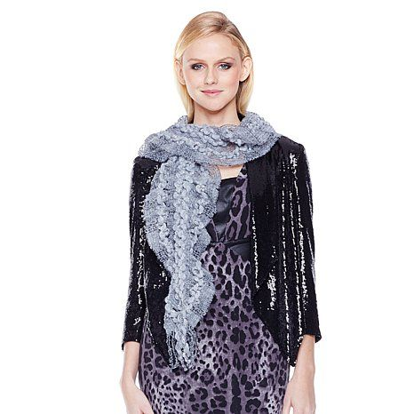 """Colleen Lopez """"Just the Right Touch"""" Tinsel Lurex Scarf in Sharkskin Gray."""