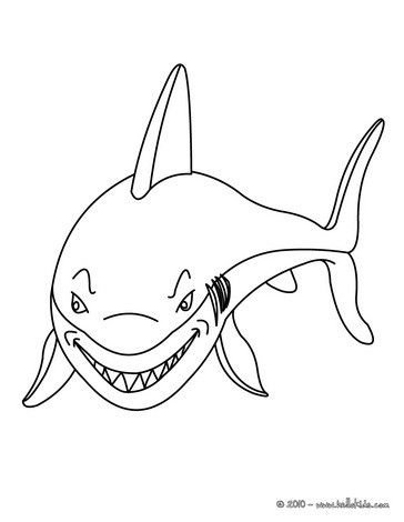Smiling shark coloring page. Nice coloring sheet of sea world. More ...