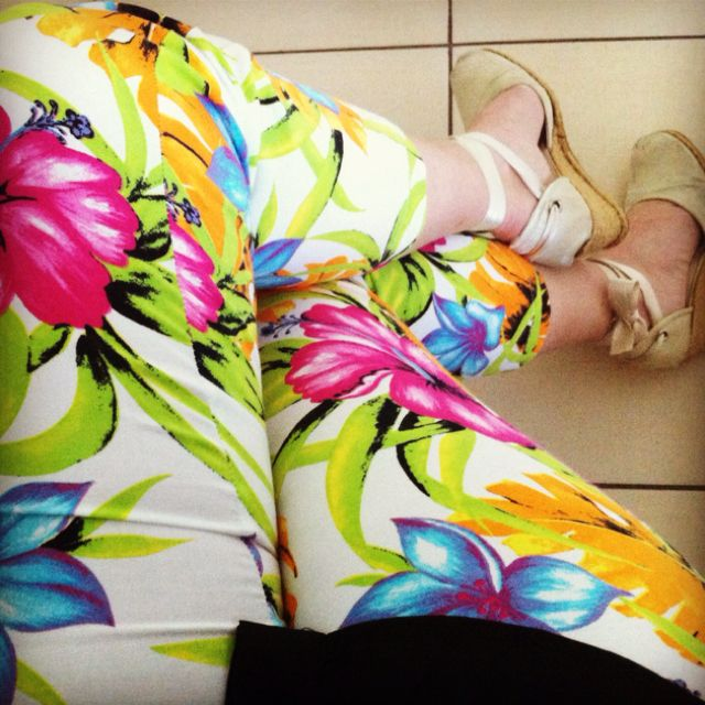 Summer comes up,colorful flowers pants on :)