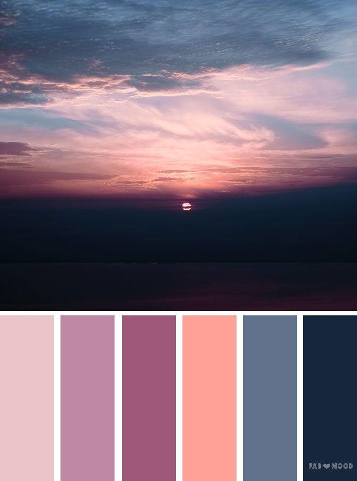 Grey mauve peach sunset inspired color palette | color scheme
