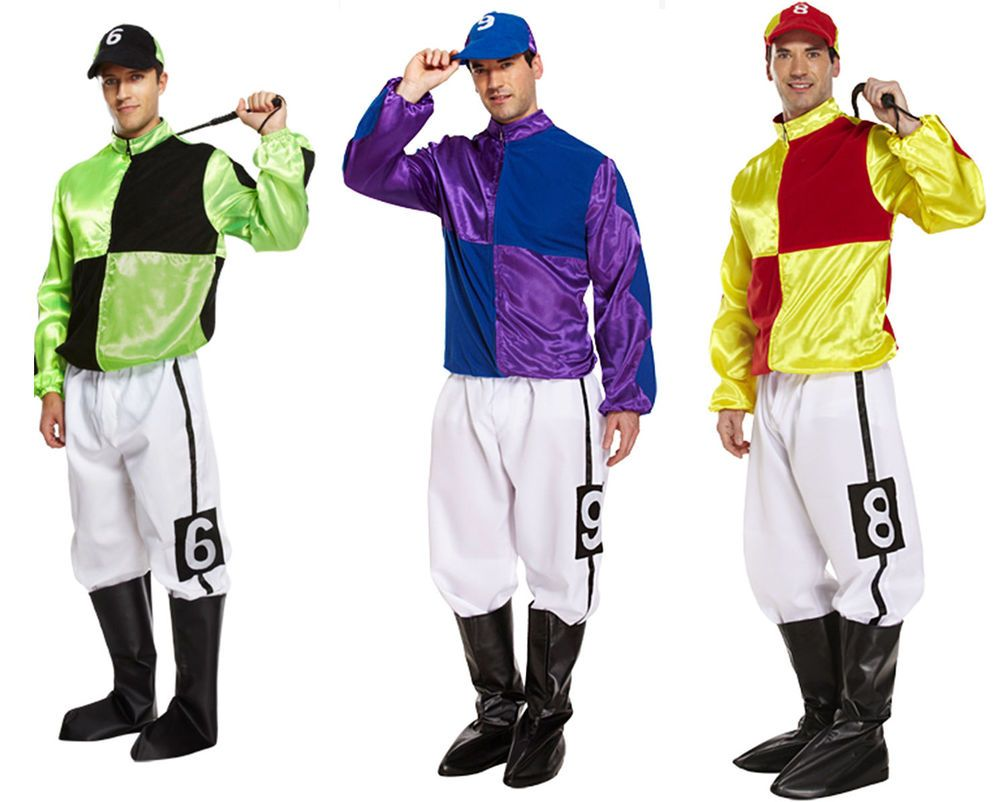 Mens Jockey Costume Adults Male Horse Rider Racing Fancy Dress Outfit Stag Do