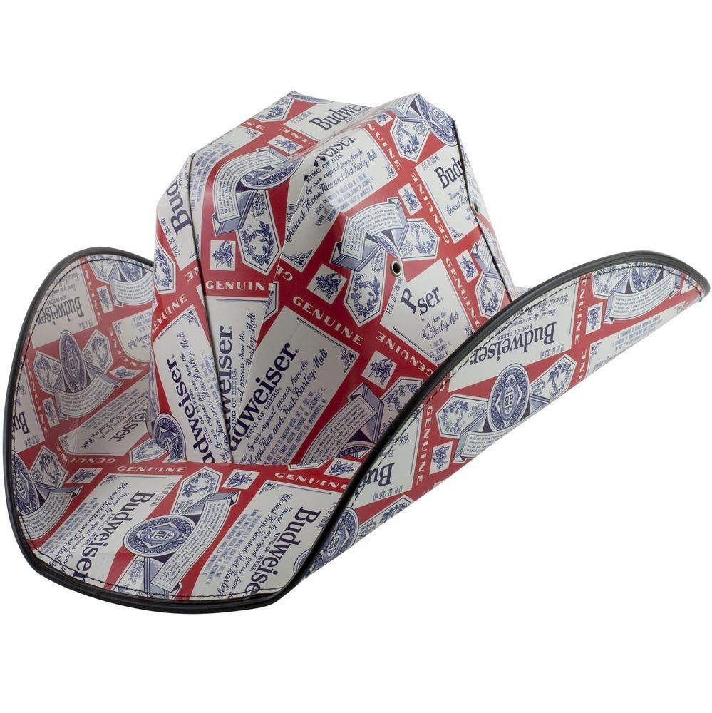 Budweiser Cowboy Hat Adult Mens Made from Case Boxes for Beach Pool Party   Budweiser  Cowboyhat 463131bdcf9
