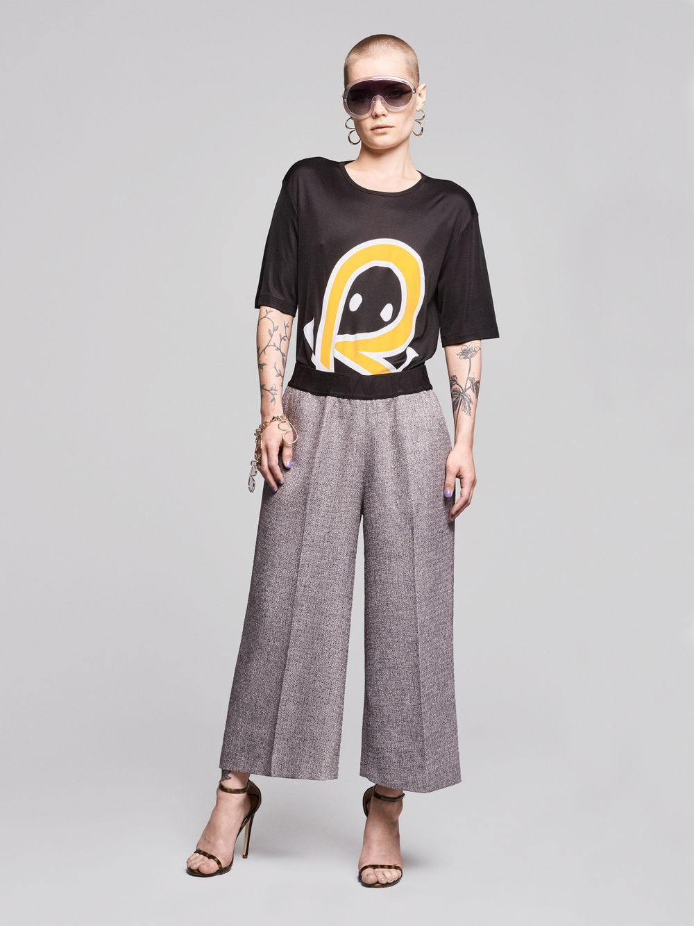 BACK - Wide logo elastic trousers