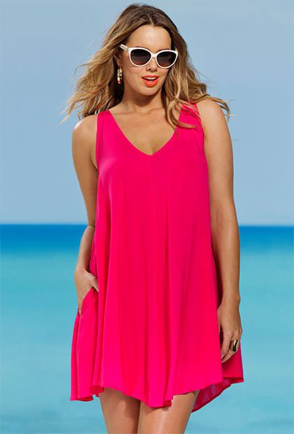 2b2d85124c2ba Fuschia Plus Size V Neck Tunic Suit Covers