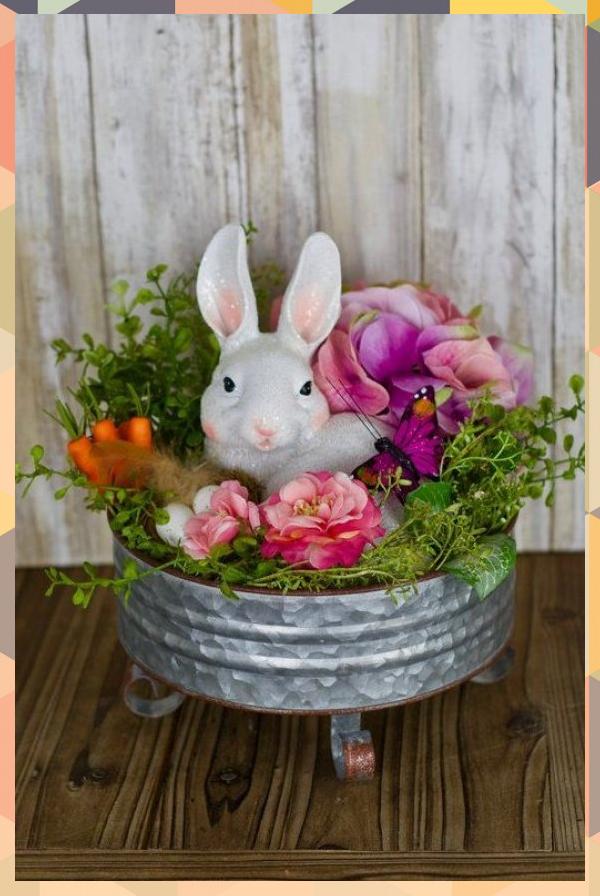 Easter Rabbit Centerpiece on Galvanized Pedestal, Easter Decor for Table, Rabbit Decor, Easter Floral Arrangement<br />#Arrangement #Centerpiece #Decor #Easter #Floral #Galvanized #Pedestal #Rabbit #Table