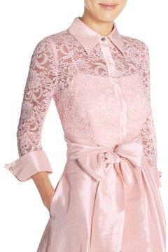 Alternate Image 6  - Eliza J Belted Lace & Taffeta Point Collar Midi Dress (Regular & Petite)