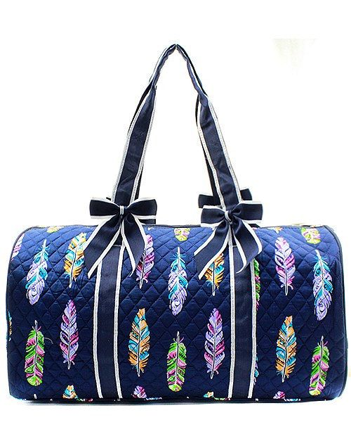 Personalized Multi-Color Feather Large Quilted Duffel Bag - Navy - plenty  of room for a weekend trip. 6ee6e5700f0dd