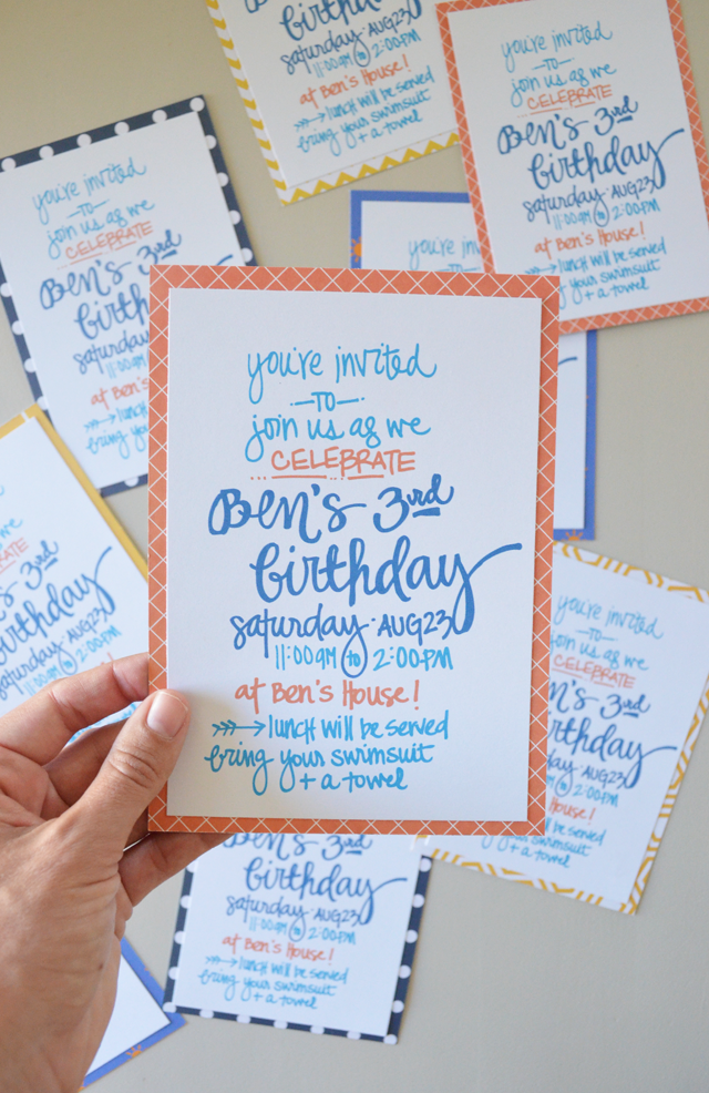 DIY Handlettered Invitations - How to make a birthday invitation in photoshop elements