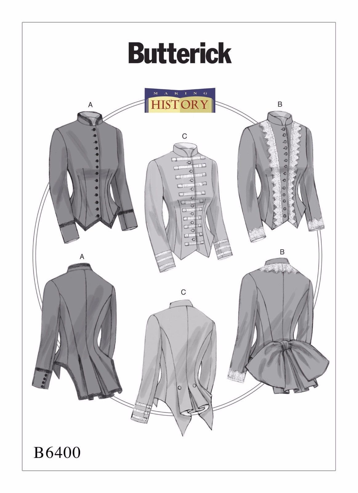 B6400 Sewing Pattern Costume Edwardian Victorian Jacket Equestrian ...