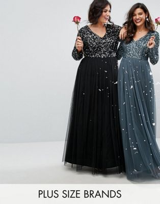 77c2efb0662 Maya Plus Plunge Front Long Sleeve Maxi Dress In Tonal Delicate Sequin And  Tulle Skirt