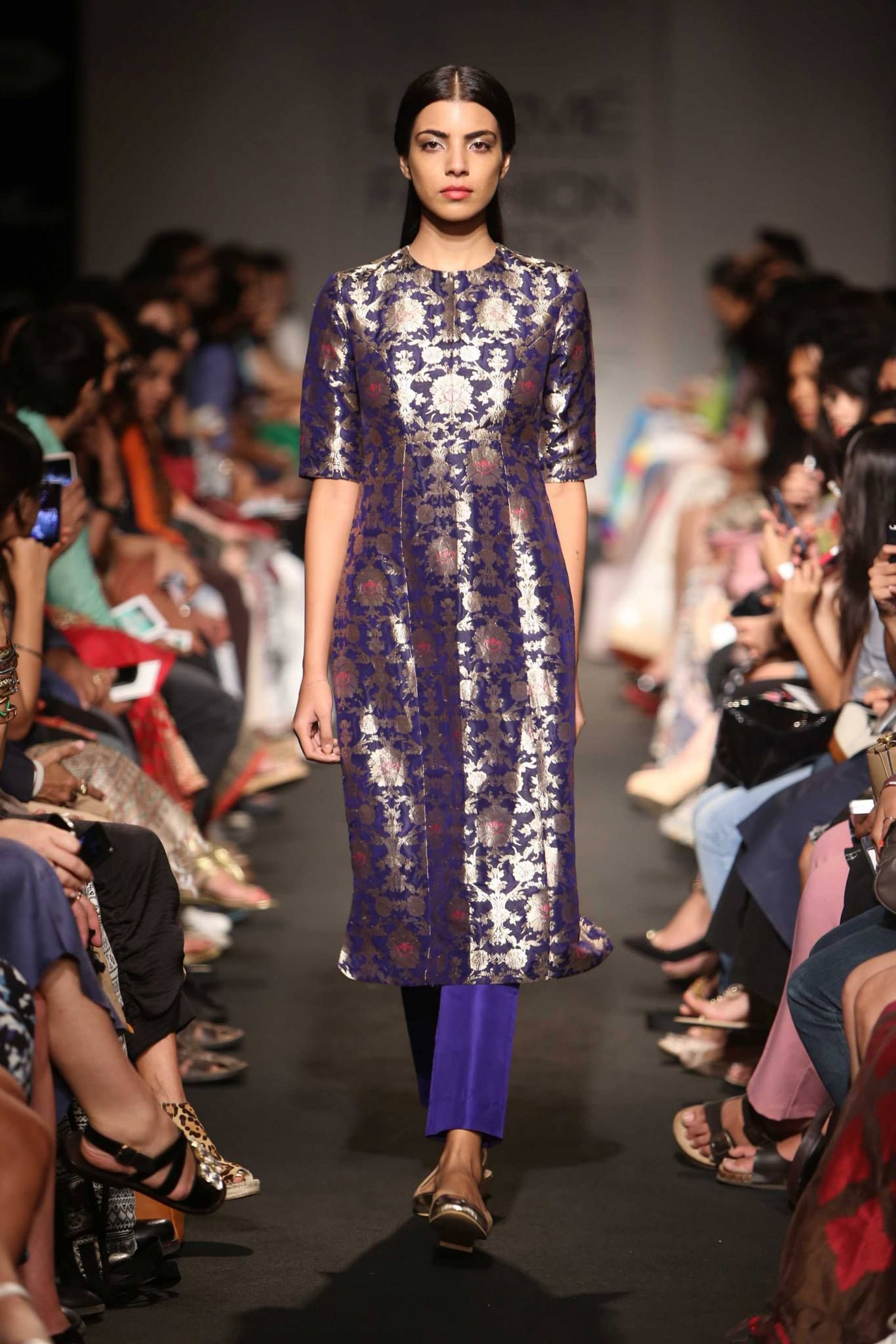 Sanjay Garg Blue Embroidered Suit At Lakme Fashion Week 2014 Fashion Lakme Fashion Week Indian Fashion