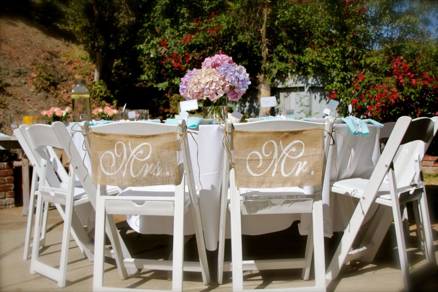Burlap Wedding Chair signs Mr and Mrs chair signs Wedding