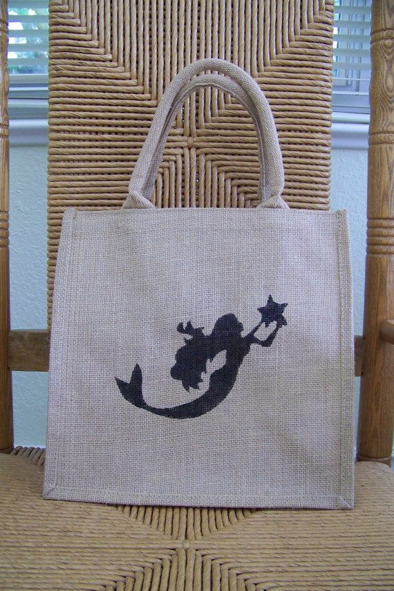 Mermaid tote beach tote bag Burlap tote bag by KelleysCollections