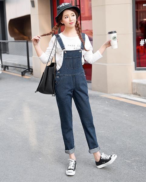 9c5d8767ff9 Denim Korean Overalls Jumpsuit Romper Dungarees Button Skinny Denim Jeans  Pants