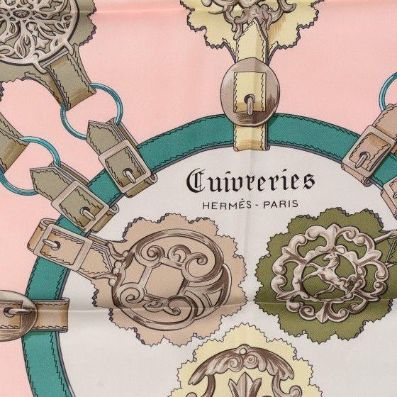 This is an authenticHERMES Silk Cuivreries Scarf 90 Rose Poudre Gris Perle…