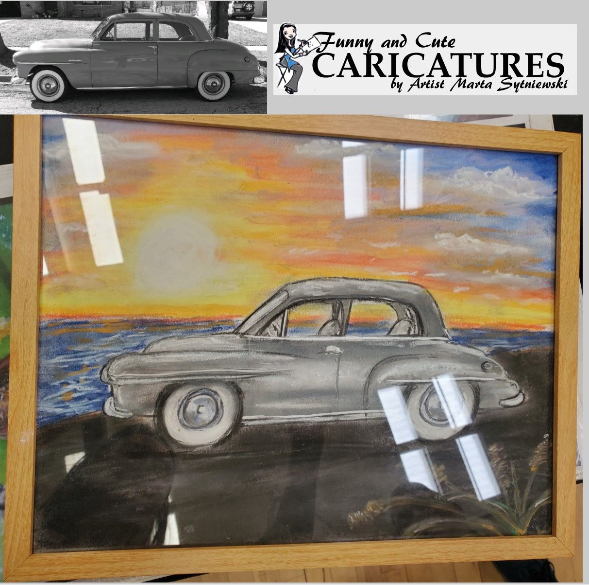 Do you have a car that you love? Get a handmade pastel drawing of your vehicle by artist Marta Sytniewski call 773-574-7767 or email FunnyAndCuteCaricatures@gmail.com #Carlove #Lovecar #Carart #Carcaricature #Cardrawing #Pasteldrawing #Caricaturecar #MartaSytniewski #FunnyAndCuteCaricature