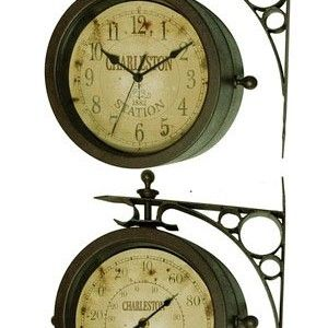 Infinity Indoor Outdoor The Charleston Double Sided Clock Thermometer Outdoor Wall Clocks Wall Clock Clock
