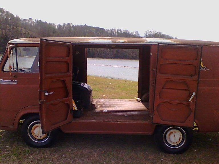 He S An Old Hippie 1967 Ford Econoline 8 Door Van Ford Van Ford Trucks Van