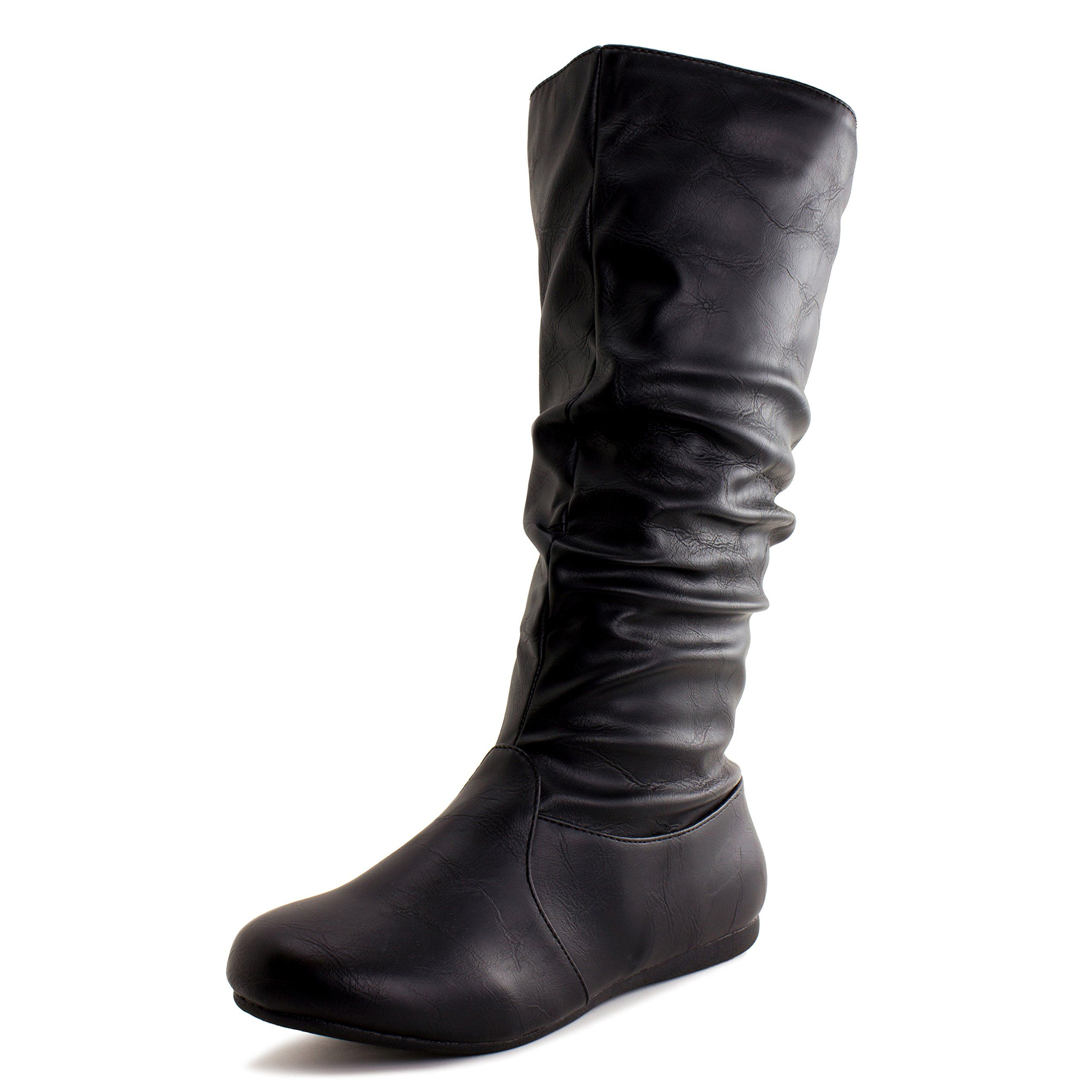 b3490f5597601 Generation19 Girls Side Zipper Faux Leather Boots, Black, 11 M US ...