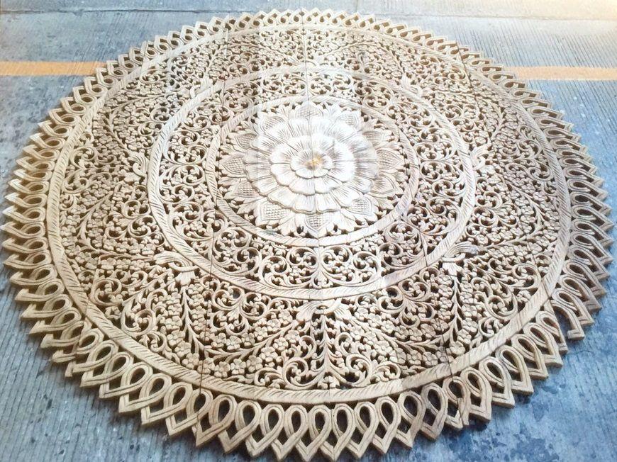 Round King Size Bed Bohemian Headboard Lotus Mandala