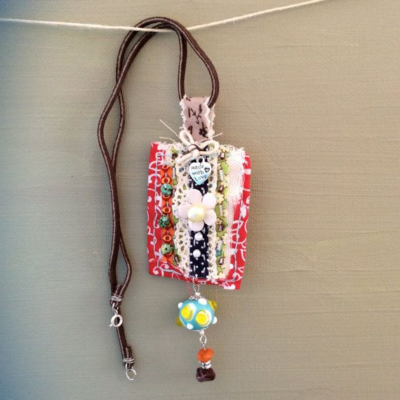 Handmade Fabric Pendant with Beads Pearl Lace and a by MooAndRoy