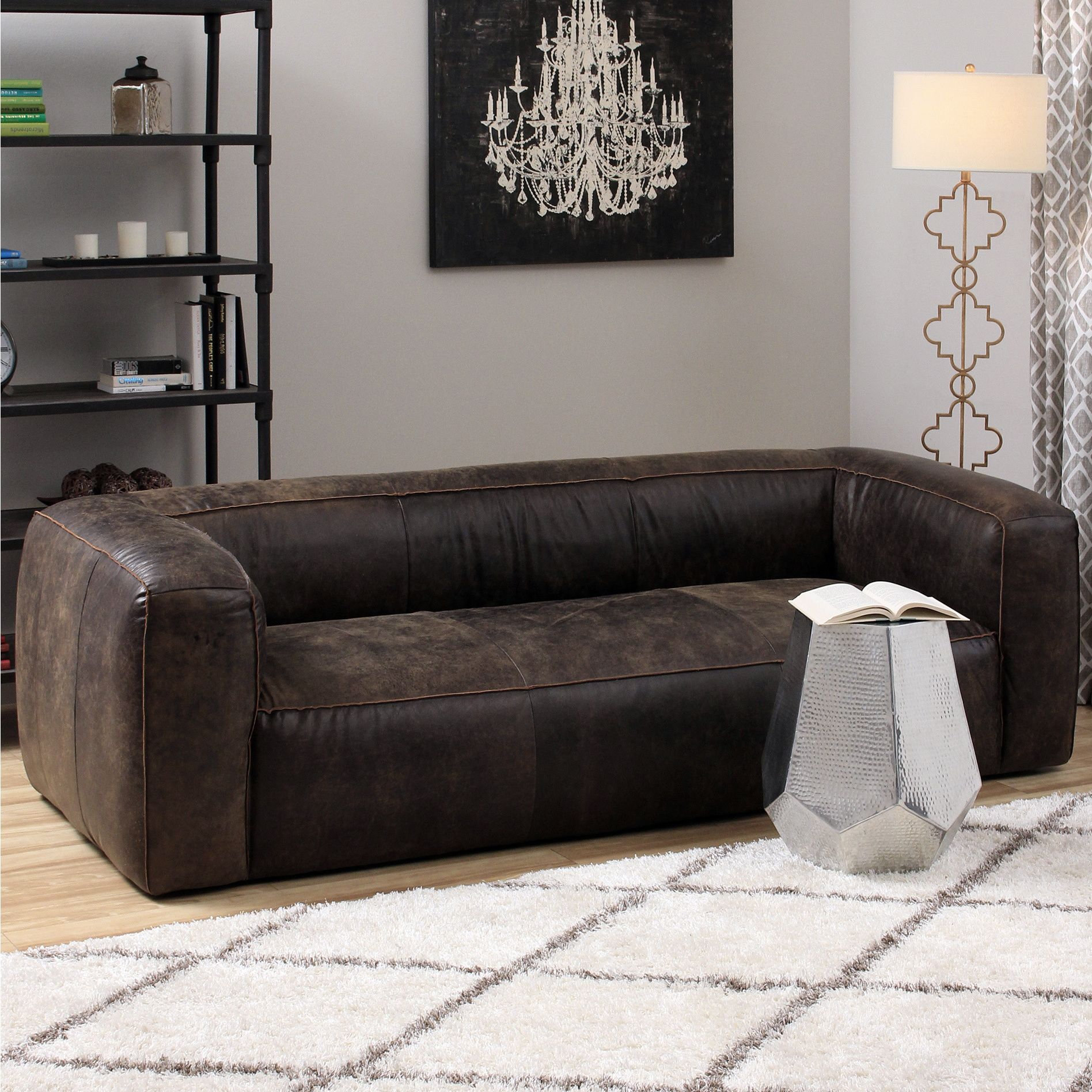 This Billowy Contemporary Sofa Is Composed Of Full Italian Leather With A Lovely Distressed Finish The Brown Leather Sofa Dark Brown Leather Sofa Leather Sofa