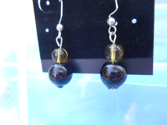 28879192e Thee lovely glass bead earrings were made from glass beads saved by myself  from being thrown away. My friend no longer wanted the beads, so I took  them off ...