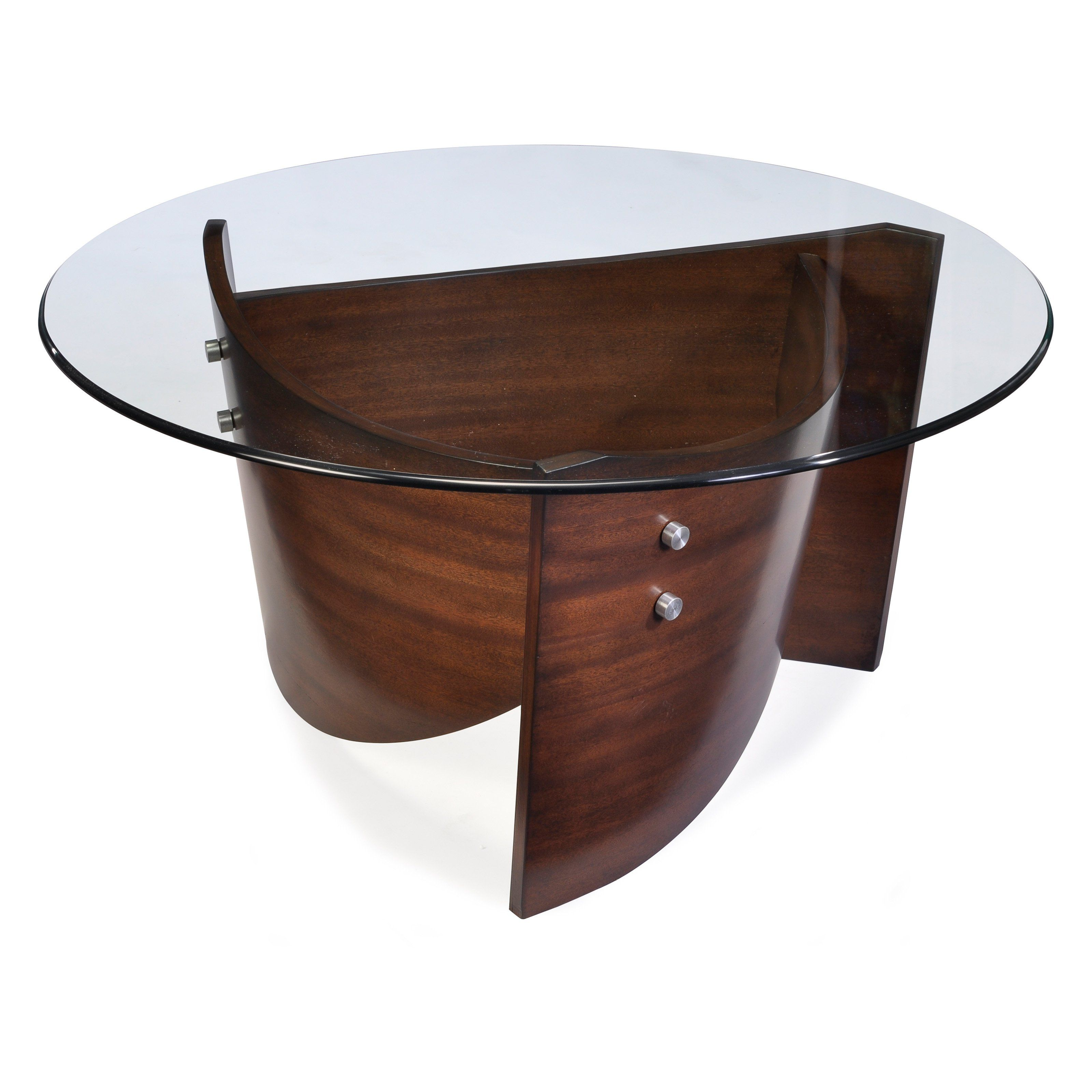 Magnussen contour round wood and glass cocktail table coffee tables