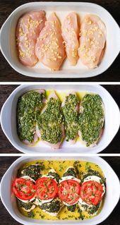 Photo of Basil Pesto Tomato Mozzarella Chicken Bake   – Pins – Favori…