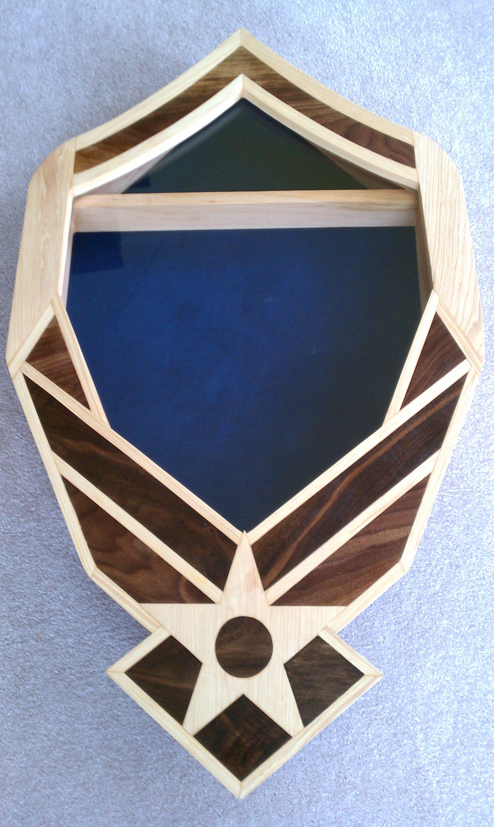 Air Force Symbol with flag on top shadowbox https//www