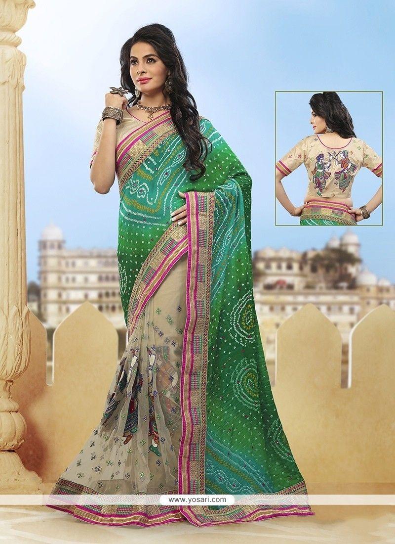 5e43c8eb76 Resplendent Beige And Green Classic Designer Saree | Wedding Sarees ...