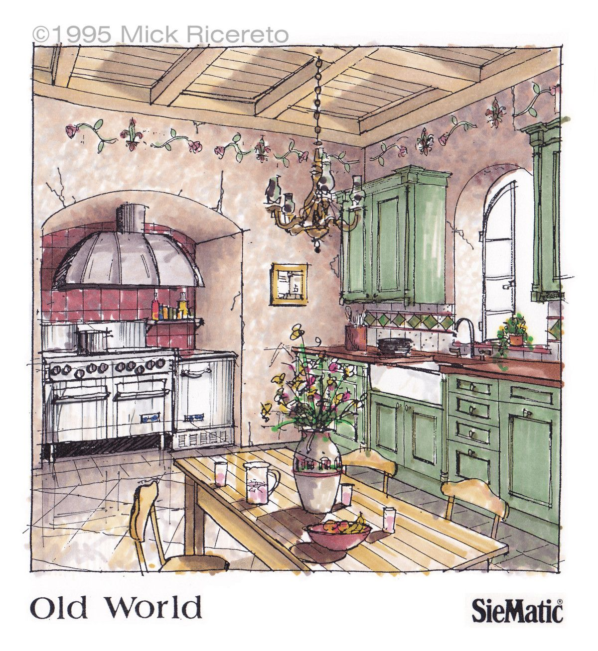 Kitchen Design Drawing With Color: Drawings, Interior Sketch, Interior