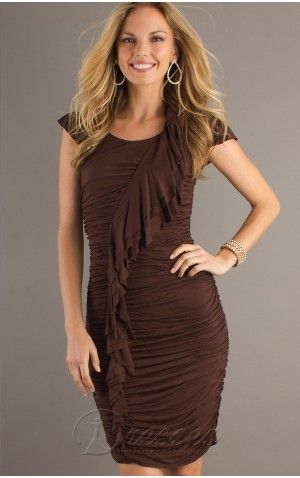Chocolate Mini Length Slim Line Off Shoulder Low Back Junior Dresses With Ruche And Zipper Juniordress0179