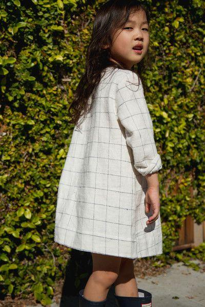 Shirt Dress in Cream Check