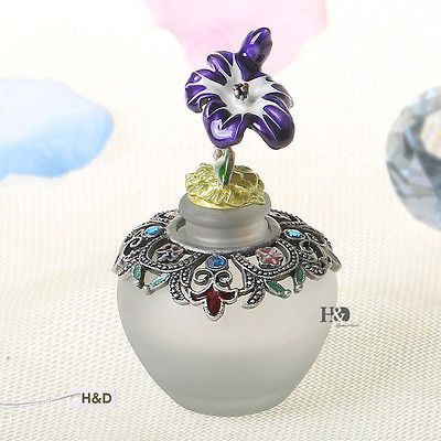 Vintage Purple Flower Crystal Empty Perfume Bottle Refillable Wedding Decor Gift