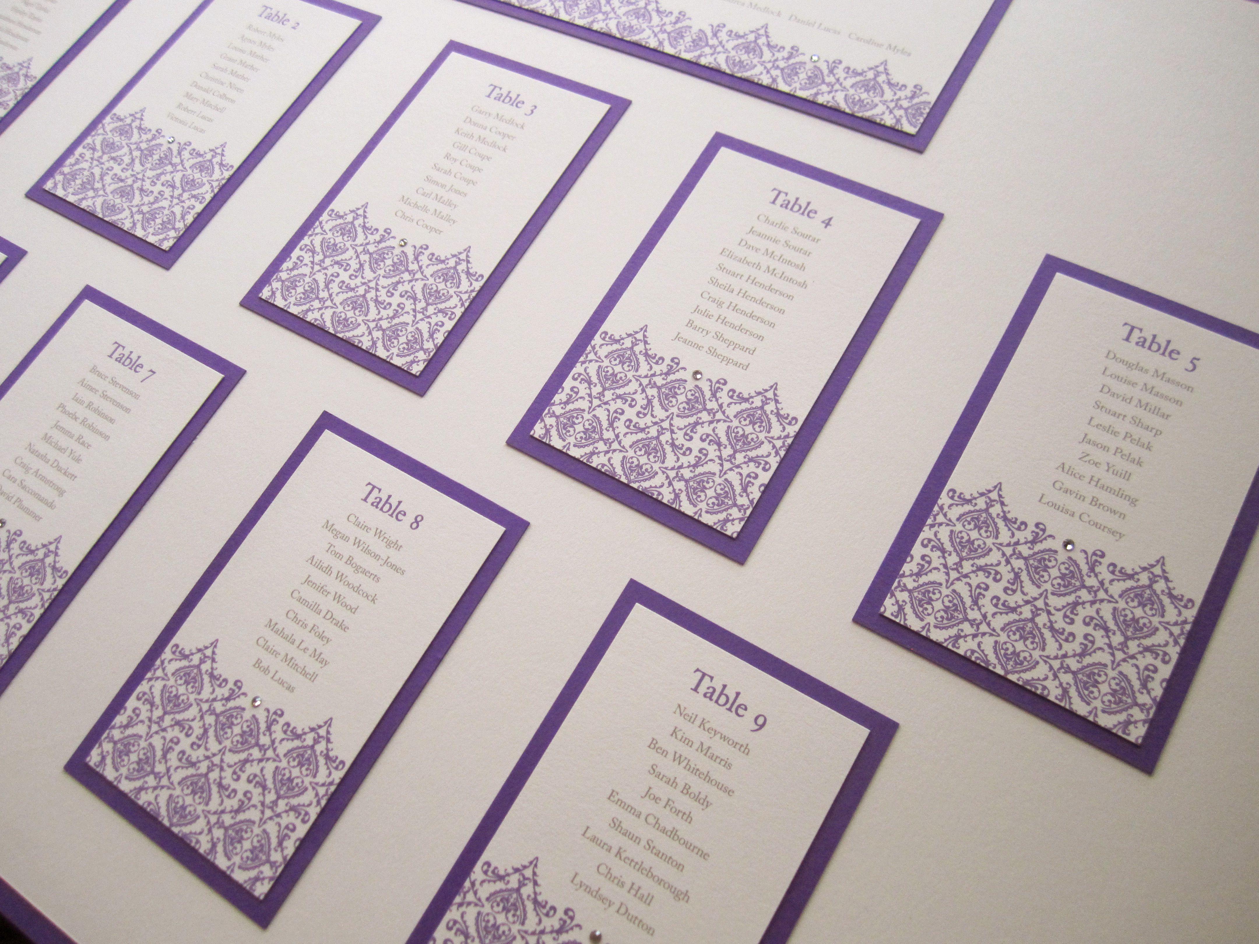 Purple Table Plan In The Belle Design From Lovat Press Www Lovatpress Co