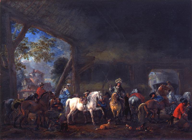 Philips Wouwerman - De aankomst in de stal