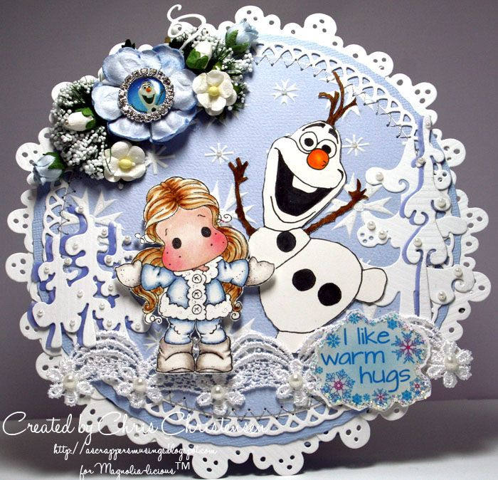 Well, this is #3 in my Frozen series. I hope you like Olaf and he makes you smile! This was made for the Winter Fun with Doohickey Challenge at the Magnolia-licious Challenge Blog. For more info, please visit - http://ascrappersmusings.blogspot.com/2015/02/tilda-in-cozy-coat-and-olaf-like-warm.html XO, Chris Christensen