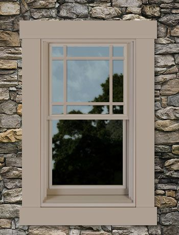 My Custom Designed Andersen Window 200 Series Color Sandtone Trim Style 4 1 2 Flat Sided W Head Extended And Sill Nose