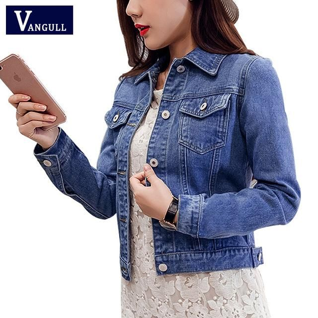 Women Autumn Long Sleeve Denim Short Coat Casual Jacket Outwear Jeans Overcoat